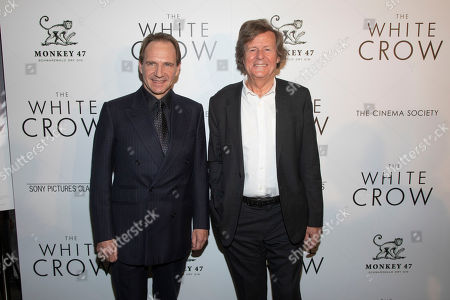 """Ralph Fiennes, David Hare. Ralph Fiennes, left, and David Hare, right, attend a special screening of """"The White Crow"""", hosted by The Cinema Society,, in New York"""