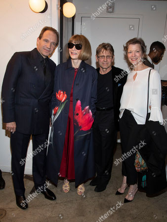 """Ralph Fiennes, Anna Wintour, Mikhail Baryshnikov, Lisa Rinehart. Ralph Fiennes, from left, Anna Wintour, Mikhail Baryshnikov and Lisa Rinehart attend a special screening of """"The White Crow"""", hosted by The Cinema Society,, in New York"""
