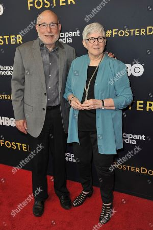 """Mark Jonathan Harris, Susan Harris. Mark Jonathan Harris, left, and Susan Harris attend the LA premiere of """"Foster"""" at Linwood Dunn Theater, in Los Angeles"""