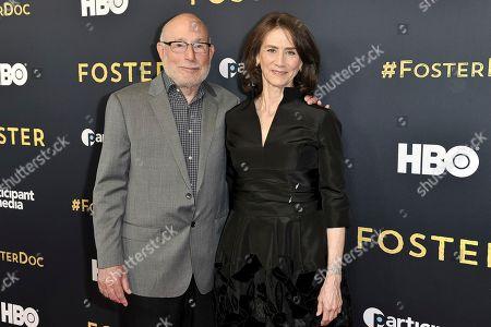 "Mark Jonathan Harris, Deborah Oppenheimer. Mark Jonathan Harris, left, and Deborah Oppenheimer attend the LA premiere of ""Foster"" at Linwood Dunn Theater, in Los Angeles"