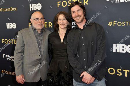 "Stock Picture of Mark Jonathan Harris, Deborah Oppenheimer, Christian Bale. Mark Jonathan Harris, from left, Deborah Oppenheimer and Christian Bale attends the LA premiere of ""Foster"" at Linwood Dunn Theater, in Los Angeles"