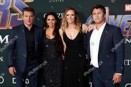 Matt Damon, his wife Luciana Barroso, Samantha Hemsworth and her husband actor Luke Hemsworth pose for photographers upon their arrival for the premiere of 'Avengers: Endgame' at the LA Convention Center in Los Angeles, California, USA, 22 April 2019. 'Avengers: Endgame' will be released US theaters on 26 April.