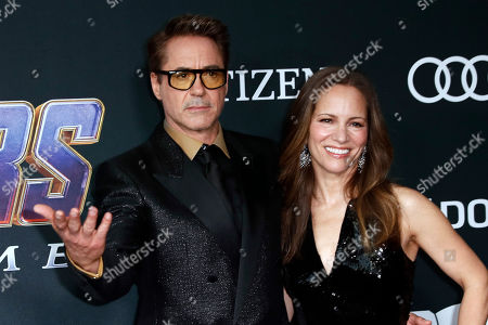 Robert Downey Jr. (L) and Susan Downey (R) pose for the photographers upon their arrival for the premiere of 'Avengers: Endgame' at the LA Convention Center in Los Angeles, California, USA, 22 April 2019. 'Avengers: Endgame' will be released US theaters on 26 April.