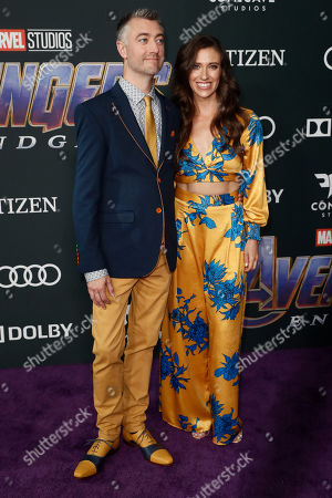 Sean Gunn (L) and US actress Natasha Halevi (R) pose for photographers upon their arrival for the premiere of 'Avengers: Endgame' at the LA Convention Center in Los Angeles, California, USA, 22 April 2019. 'Avengers: Endgame' will be released US theaters on 26 April.