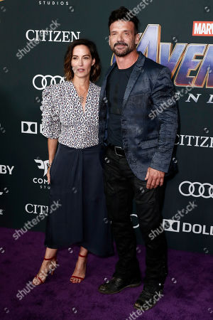 Frank Grillo (R) and his wife US actress Wendy Moniz (L) pose for the photographers upon their arrival for the premiere of 'Avengers: Endgame' at the LA Convention Center in Los Angeles, California, USA, 22 April 2019. 'Avengers: Endgame' will be released US theaters on 26 April.