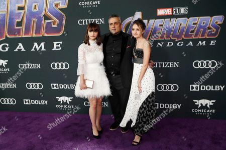 Joe Russo (C) poses with his family for the photographers upon their arrival for the premiere of 'Avengers: Endgame' at the LA Convention Center in Los Angeles, California, USA, 22 April 2019. 'Avengers: Endgame' will be released in US theaters on April 26.