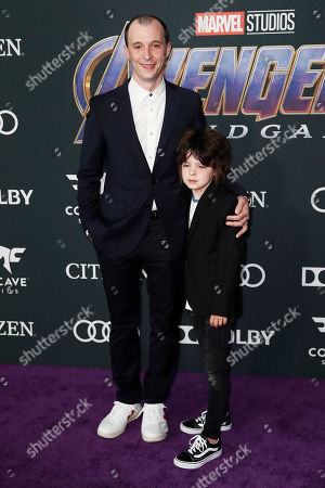 Stock Image of Tom Vaughan-Lawlor (L) and a guest pose for the photographers upon their arrival for the premiere of 'Avengers: Endgame' at the LA Convention Center in Los Angeles, California, USA, 22 April 2019. 'Avengers: Endgame' will be released in US theaters on April 26.