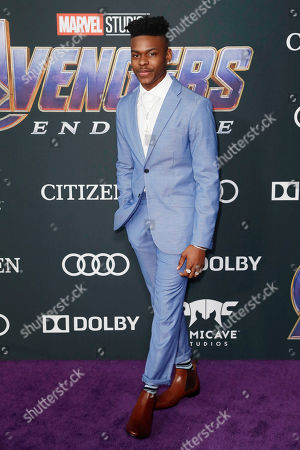 Aubrey Joseph poses for the photographers upon his arrival for the premiere of 'Avengers: Endgame' at the LA Convention Center in Los Angeles, California, USA, 22 April 2019. 'Avengers: Endgame' will be released in US theaters on April 26.