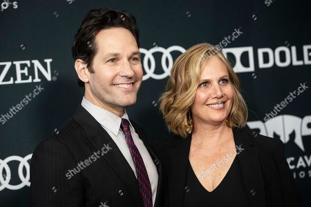 Stock Picture of Paul Rudd and his wife Julie Yaeger pose for the photographers upon their arrival for the premiere of 'Avengers: Endgame' at the LA Convention Center in Los Angeles, California, USA, 23 April 2019. 'Avengers: Endgame' will be released in US theater on April 26.