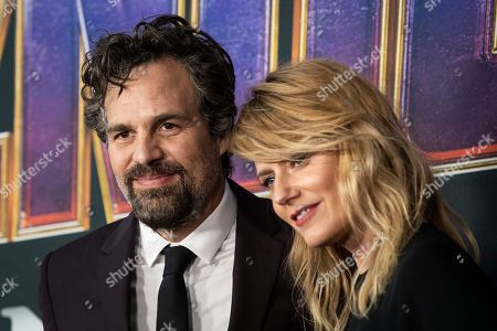 Mark Ruffalo and his wife US actress Sunrise Coigney pose for the photographers upon their arrival for the premiere of 'Avengers: Endgame' at the LA Convention Center in Los Angeles, California, USA, 23 April 2019. 'Avengers: Endgame' will be released in US theater on April 26.