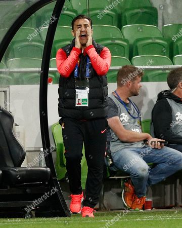 Coach Fabio Cannavaro of Guangzhou Evergrande reacts during the AFC Champions League group F soccer match between Melbourne Victory and Guangzhou Evergrande FC at Melbourne Rectangular Stadium in Melbourne, Australia, 23 April 2019.