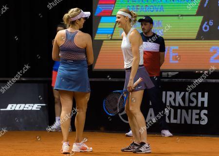 Anastasia Pavlyuchenkova of Russia & Lucie Safarova of the Czech Republic playing doubles