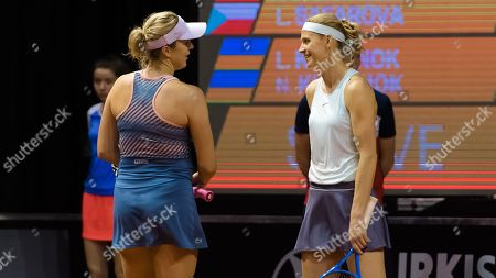 Anastasia Pavlyuchenkova of Russia & Lucie Safarova of the Czech Republic playing doubles at the 2019 Porsche Tennis Grand Prix WTA Premier tennis tournament