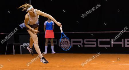 Lucie Safarova of the Czech Republic playing doubles at the 2019 Porsche Tennis Grand Prix WTA Premier tennis tournament