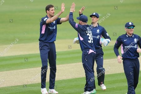 Steven Finn and Middlesex celebrate the wicket of James Vince  during the Royal London One Day Cup match between Hampshire County Cricket Club and Middlesex County Cricket Club at the Ageas Bowl, Southampton
