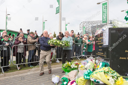 Former teammates John Clark and Bertie Auld lay a wreath outside Celtic park for former player and manager Billy McNeill who died 22nd April.