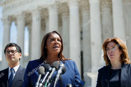 Attorney General of New York Letitia James (C), with Director of the Census for New York City Julie Menin (R) and Director of the ACLU's Voting Rights Project Dale Ho (L), responds to a question from the news media following her oral arguments against including a citizenship question in the 2020 census at the Supreme Court in Washington, DC, USA, 23 April 2019. The Supreme Court is hearing arguments on whether the Trump administration can add a question about citizenship to the 2020 census.