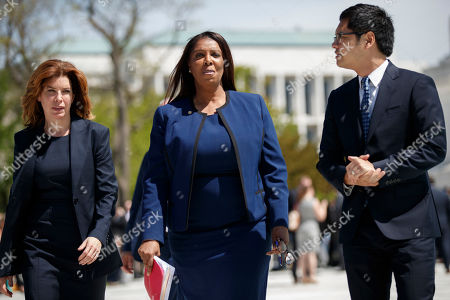 Attorney General of New York Letitia James (C), with Director of the Census for New York City Julie Menin (L) and Director of the ACLU's Voting Rights Project Dale Ho (R), following her oral arguments against including a citizenship question in the 2020 census at the Supreme Court in Washington, DC, USA, 23 April 2019. The Supreme Court is hearing arguments on whether the Trump administration can add a question about citizenship to the 2020 census.