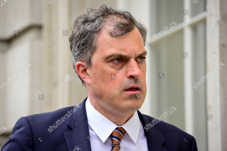 Julian Smith MP, Parliamentary Secretary to the Treasury (Chief Whip), arrives at Cabinet Office ahead of cross-party talks on Brexit.
