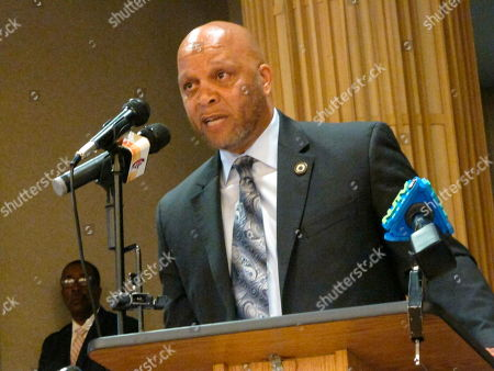 Democratic Atlantic City Mayor Frank Gilliam Jr. speaks at an event in Atlantic City N.J., at which state officials said New Jersey's takeover of Atlantic City will remain in place for the full five-year term envisioned by former Republican Gov. Chris Christie when it began in 2016