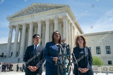 Dale Ho, Letitia James, Julie Menin. New York State Attorney General Letitia James, center, flanked by Dale Ho, left, an attorney for the American Civil Liberties Union, and New York City Census Director Julie Menin, speaks to reporters after the Supreme Court heard arguments over the Trump administration's plan to ask about citizenship on the 2020 census, in Washington, . Critics say adding the question would discourage many immigrants from being counted, leading to an inaccurate count