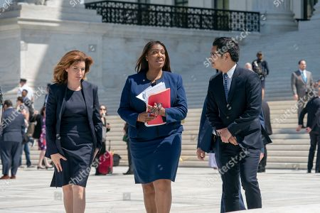 Dale Ho, Letitia James, Julie Menin. From left, New York City Census Director Julie Menin, New York State Attorney General Letitia James, and Dale Ho, an attorney for the American Civil Liberties Union, leaves after the Supreme Court heard arguments over the Trump administration's plan to ask about citizenship on the 2020 census, in Washington, . Critics say adding the question would discourage many immigrants from being counted, leading to an inaccurate count