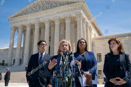 Carolyn Maloney, Dale Ho, Letitia James, Julie Menin. Rep. Carolyn Maloney, D-N.Y., center, joined from left by Dale Ho, attorney for the American Civil Liberties Union, New York State Attorney General Letitia James, and New York City Census Director Julie Menin, speaks to reporters after the Supreme Court heard arguments over the Trump administration's plan to ask about citizenship on the 2020 census, in Washington, . Critics say adding the question would discourage many immigrants from being counted, leading to an inaccurate count