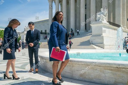 Dale Ho, Letitia James, Julie Menin. From left, New York City Census Director Julie Menin, Dale Ho, an attorney for the American Civil Liberties Union, and New York State Attorney General Letitia James, arrive to speak with reporters after the Supreme Court heard arguments over the Trump administration's plan to ask about citizenship on the 2020 census, in Washington, . Critics say adding the question would discourage many immigrants from being counted, leading to an inaccurate count