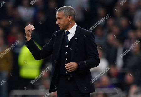 Brighton and Hove's manager Chris Hughton during the English Premier League soccer match between Tottenham Hotspur and Brighton & Hove Albion FC at  the Tottenham Hotspur Stadium in London, Britain, 23 April 2019.