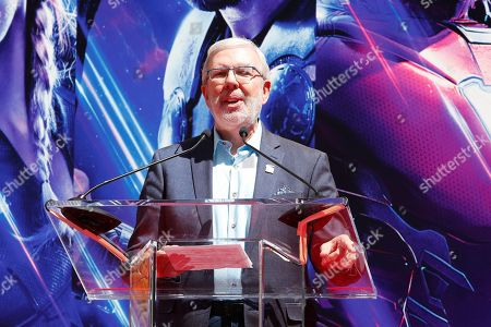 US film critic Leonard Maltin speaks during a hand print ceremony for the cast of Marvel Studios' 'Avengers: Endgame' at the TCL Chinese Theatre IMAX in Hollywood, Los Angeles, California, USA, 23 April 2019. The movie opens in the US on 26 April.