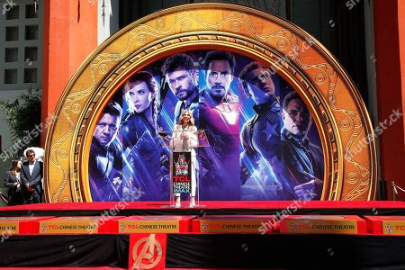 US radio DJ Ellen K speaks during a hand print ceremony for the cast of Marvel Studios' 'Avengers: Endgame' at the TCL Chinese Theatre IMAX in Hollywood, Los Angeles, California, USA, 23 April 2019. The movie opens in the US on 26 April.