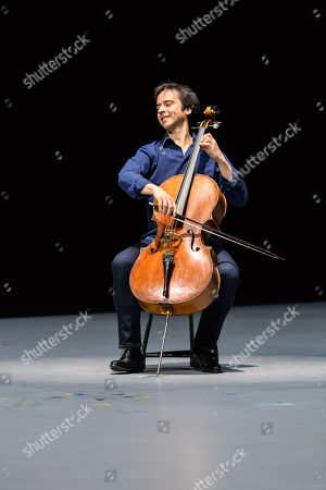 "Stock Picture of Anne Teresa De Keersmaeker, Jean-Guihen Queyras and Rosas present ""Mitten wir im Leben sind/ Bach6Cellosuiten"" at Sadler's Wells. Pictured: Jean-Guihen Queyras (cellist)."