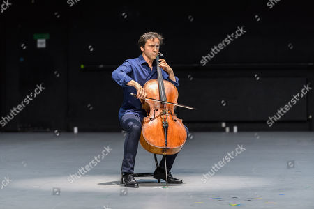"Anne Teresa De Keersmaeker, Jean-Guihen Queyras and Rosas present ""Mitten wir im Leben sind/ Bach6Cellosuiten"" at Sadler's Wells. Pictured: Jean-Guihen Queyras (cellist)."