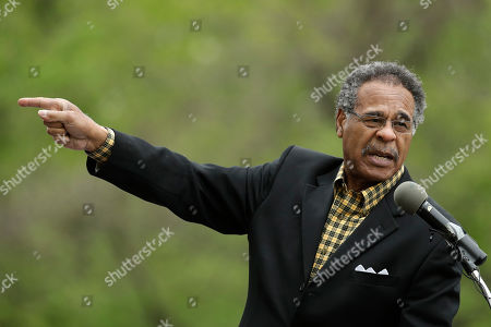 Rep. Emanuel Cleaver, D-Mo., addresses people attending a sign unveiling ceremony for the Quindaro Townsite National Commemorative Site Tuesday, April, 23, 2019, in Kansas City, Kan. The site contains the ruins of the town of Quindaro, which was founded in the 1850s as a free state port of entry and a stop on the underground railroad for slaves to escape from Missouri located across the Missouri River from the town