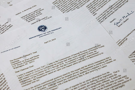 The letter from Treasury Secretary Steven Mnuchin to House Ways and Mean chairman Richard Neal of Mass., is photographed, in Washington. Mnuchin is asking for more time to respond to House Democrats' request for President Donald Trump's tax returns