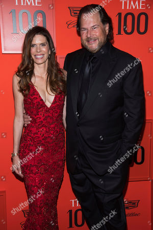 Lynn Benioff, Marc Benioff. Lynn Benioff and Marc Benioff attend the 2019 Time 100 Gala, celebrating the 100 most influential people in the world, at Frederick P. Rose Hall, Jazz at Lincoln Center, in New York