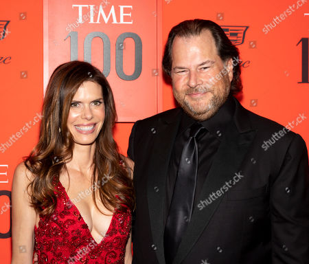 Stock Picture of US businessman Marc Benioff (R) and his wife Lynne Benioff (L) arrive for the annual Time 100 Gala at the Frederick P. Rose Hall at the Lincoln Center in New York, New York, USA, 23 April 2019. The annual event coincides with Time Magazine's annual list of the 100 most influential people in the world.