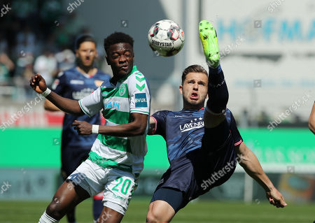 David Atanga, Ken Reichel /   /        /       /   2.Bundesliga  DFL /  2017/2018 / 20.04.2019 / SpVgg Greuther Fuerth vs. 1.FC Union Berlin FCU /  DFL regulations prohibit any use of photographs as image sequences and/or quasi-video. /