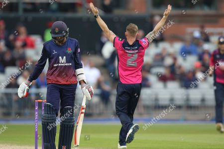 Northants Steelbacks  Luke Procter celebrates the wicket of Lancashires Haseeb Hameed during the Royal London 1 Day Cup match between Lancashire County Cricket Club and Northamptonshire County Cricket Club at the Emirates, Old Trafford, Manchester