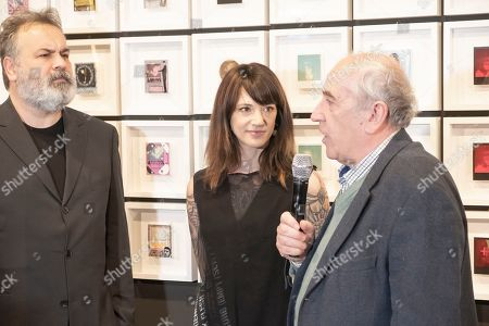 Asia Argento, President National Museum of Cinema Sergio Toffetti (R) at the opening of her photographic exhibition at the National Museum of Cinema