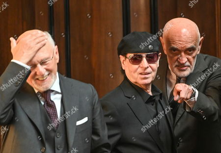 Singer Klaus Meine (C), Martin Kind (2-R) (President of German soccer club Hannover 96) and Dirk Rossmann (L) frineds of former German Chancellor State Gerhard Schroeder (unseed)  during a reception in Hannover, Germany, 24 April 2019. The city of Hannover gave a birthday reception to its honoarary citizen and former Chancellor, Gerhard Schroeder, marking his 75th birthday which took place on 07 April. Schroeder who began his political career in Hannover was accomponied by his wife Soyeon Schroeder-Kim.