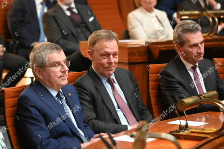 Thomas Bach, IOC-President (L), Thomas Oppermann, Vicepresident of the Bundestag,  Günther Oettinger, EU-Comissioner (R) all friends of former German Chancellor State Gerhard Schroeder (unseen) during a reception in Hannover, Germany, 24 April 2019. The city of Hannover gave a birthday reception to its honoarary citizen and former Chancellor, Gerhard Schroeder, marking his 75th birthday which took place on 07 April. Schroeder who began his political career in Hannover was accomponied by his wife Soyeon Schroeder-Kim.