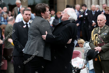 Partner Sara Canning and Irish President Michael D Higgins at the funeral and service of thanksgiving for the life of journalist Lyra McKee at St Anne's Cathedral, Donegall Street, Belfast.
