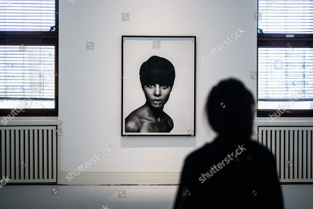 Stock Picture of A visitor stands in front of a photo by Moneta Sleet Jr. (1965) during a press preview of the exhibition 'The Black Image Corporation' by Theaster Gates at the Martin Gropius Bau museum in Berlin, Germany, 24 April 2019.  Concept artist Theaster Gates presents the work of photographers Moneta Sleet Jr. and Isaac Sutton and the Afroamerican culture magazines Ebony and Jet. The exhibition runs from 24 April to 28 July 2019 at the Martin Gropius Bau museum in Berlin.