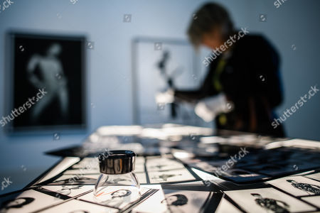 A light table with contact sheets on display during a press preview of the exhibition 'The Black Image Corporation' by Theaster Gates at the Martin Gropius Bau museum in Berlin, Germany, 24 April 2019. Concept artist Theaster Gates presents the work of photographers Moneta Sleet Jr. and Isaac Sutton and the Afroamerican culture magazines Ebony and Jet. The exhibition runs from 24 April to 28 July 2019 at the Martin Gropius Bau museum in Berlin.