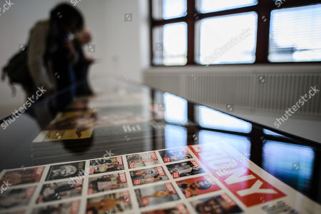 Stock Photo of Ebony magazine editions on display during a press preview of the exhibition 'The Black Image Corporation' by Theaster Gates at the Martin Gropius Bau museum in Berlin, Germany, 24 April 2019. Concept artist Theaster Gates presents the work of photographers Moneta Sleet Jr. and Isaac Sutton and the Afroamerican culture magazines Ebony and Jet. The exhibition runs from 24 April to 28 July 2019 at the Martin Gropius Bau museum in Berlin.