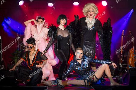 """Fancy Chance, Kitty Bang Bang, Bernie Dieter, Beau Sargent and Myra Dubois pose at the preview of Bernie Dieter's """"Little Death Club"""" an eclectic performance show taking place at the Underbelly Festival on the Southbank until 23 June 2019."""