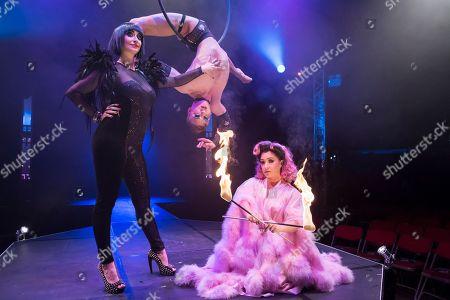 """Bernie Dieter, Beau Sargent (aerial contortionist) and Kitty Bang Bang (fire breathing bearded lady) at the preview of Bernie Dieter's """"Little Death Club"""" an eclectic performance show taking place at the Underbelly Festival on the Southbank until 23 June 2019."""