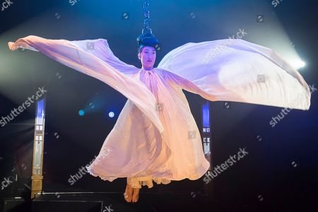 """Fancy Chance, hair hanging dynamo, performs at the preview of Bernie Dieter's """"Little Death Club"""" an eclectic performance show taking place at the Underbelly Festival on the Southbank until 23 June 2019."""