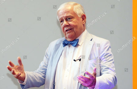 US businessman and investor Jim Rogers speaks at a breakfast meeting hosted by a research group on an undersea tunnel between South Korea and Japan, in the southeastern port of Busan, South Korea, 22 April 2019.